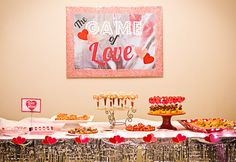 The Game of Love–Couples Valentine's Party. Game show themed valentine's party featuring minute-to-win-it and Newlywed games.