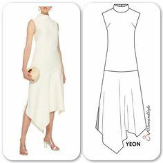 """인스 타 그램 :""""Trapeze Hem dress (silk / viscose) Abstract Grid Pr . Dress Sewing Patterns, Clothing Patterns, Sewing Clothes, Diy Clothes, Costura Fashion, Dress Outfits, Fashion Dresses, Mode Cool, Fashion Pattern"""