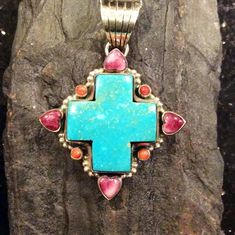 Excited to share a collection from artist Dan Dodson to my #etsy shop: Native American Style Jewelry Sterling Silver Turquoise Cross Pendant with Purple Spiny Oyster Hearts Southwest http://etsy.me/2C9B5AY #jewelry #necklace #shell #no #girls #turquoise  #shopsmall #nativeamericanjewelry
