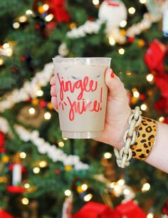 Our Jingle Juice cups are in stock and ready to ship for the Christmas season! These dishwasher-safe frosted cups are perfect for holiday parties and decorations, hostess gifts, stocking stuffers, and Christmas party favors! Christmas Party Ideas For Teens, Adult Christmas Party, Christmas Birthday Party, Christmas Cup, Christmas Cocktails, Christmas Party Decorations, Christmas Humor, Holiday Parties, Christmas Cocktail Party