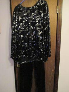 ANTHONY RICHARDS SPARKLE PANNE BLACK PANT SET VELOUR 4X 28W-30W #ANTHONYRICHARDS #DressPants