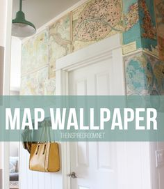 My Map Wallpaper. Ever wonder if you could put wrapping paper or scrapbook paper on your walls like wallpaper? Me too, so I tried it! Come see the details on my map wall!