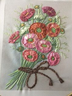 silk ribbons from House of Embroidery. Embroidered by Petro of www.embroideryandall.co.za