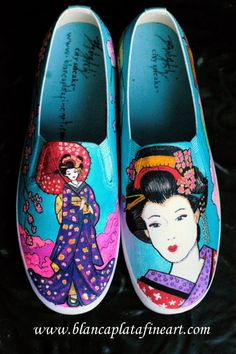 Custom Hand Painted Shoes Sneakers Flats by blancaplatafineart, $200.00