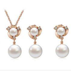 Новый дизайн 2016 1 компл./лот свадебное серебро золото жемчужные украшения австрийские хрустальные подвески ожерелье серьги комплект для женщин