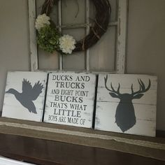 Are you looking for the perfect woodland hunting decor? Well look no further this is a set of 3 signs. This set comes with a duck and a deer head and a middle sign that reads  ducks and trucks and eight point bucks thats what little boys are made of. These signs are hand drawn by me and then hand painted, so no signs will be identical. I can change anything about them that you would want. You can choose a different accent for the middle sign. The color in the sample picture is country gray…