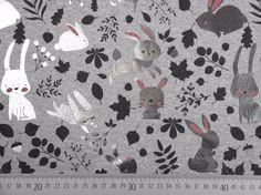 12,9/m Stoff Tiermotive - Jersey Glitzerhasen, grau melange / silber - ein Designerstück von Wunderland-der-Stoffe bei DaWanda
