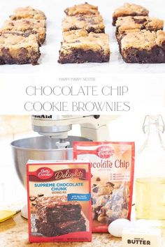 Today's fun recipe is Chocolate Chip Cookie Brownies or what my daughter calls, Brookies. These yummy fudgy desserts combine a cookie dough with a brownie. They only take minutes to prepare, and they taste gourmet and delicious. They are perfect for any party or get together!