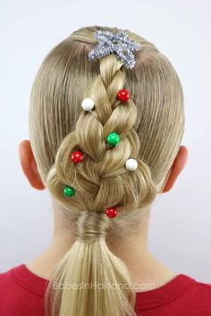 For an easy Christmas hairstyle, try this cute Christmas Tree Braid from BabesInHairland.com | hair | braids | hairstyle | easy hairstyle |