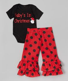 Another great find on #zulily! Black 'Baby's 1st Christmas ' Bodysuit & Ruffle Pants - Infant #zulilyfinds