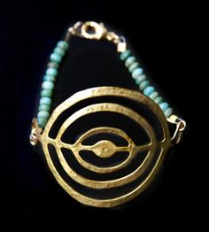 Circle and Turquoise Bead Bracelet  | This bracelet features a unique brass circle connector paired ... | Bracelets