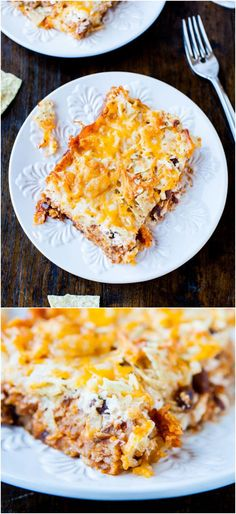 Chips and Cheese Chili Casserole (vegetarian/GF) - Think chili nachos that meet a pan of lasagna on the way to the oven. An easy, hearty satisfying dish everyone loves. Perfect for Superbowl parties!