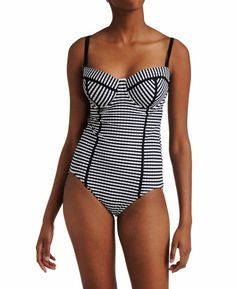 Seafolly Lucia D Cup Maillot Plaid One Piece Swimsuit