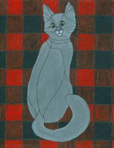 "Cat Art - ""Checkers"" - Acrylic Painting by Lorraine Skala - Please visit my Etsy Shop to purchase notecards or prints"
