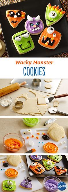Wacky Monster Cookies: These funny and festive cookies will put a smile on your face this Halloween. Have fun decorating your favorite little monsters.