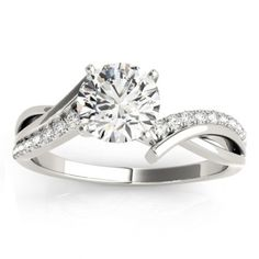 Diamond Twist Bypass Engagement Ring Setting 18k White Gold (0.09ct), Women's, Size: 10