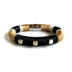 Contemporary Textile Beaded Rope Bracelet di TangeloTree su Etsy, $75.00/€47,11