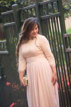Modest chiffon and lace dress, perfect as a bridesmaid dress. Modest apparel, ruffles, and lace. www.daintyjewells.com