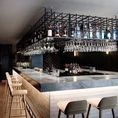 The Time - Rockwell Group Outdoor Restaurant, Cafe Restaurant, Restaurant Design, Design Café, Bar Interior Design, Interior Decorating, Rustic Basement Bar, Barra Bar, Luxury Bar