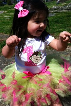Gorgeous birthday girl monkey tutu and by yunuesalazar on Etsy, $42.00