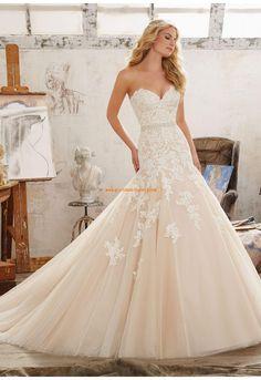 Meerjungfrau Herz-ausschnitt Traumhafte Brautkleider aus Tüll mit Applikation
