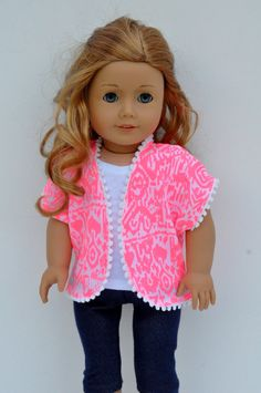 American Girl Doll Clothes Pink Tribal Aztec Print with Pom Pom Trim Kimono by CircleCSewing