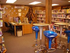 Teen area at Kelvery Library. Very cool stools.