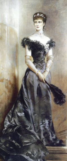 Elizabeth of Austria wearing an evening gown by anonymous, ca 1890 Austria