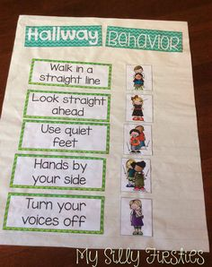 I love this anchor chart for hallway behavior. It could be up all year long and referenced so students always know what's expected.