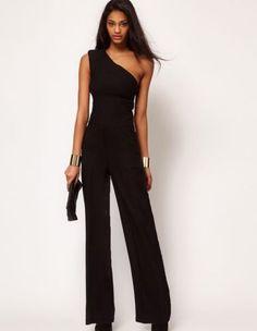 4fcbf9b942f4 Stylish Lady Sexy Women s One Shoulder Sleeveless High Waist Solid Full  Length Chiffon Jumpsuit Romper Overalls Black