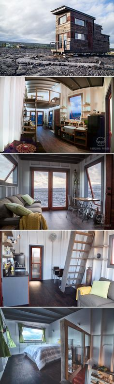 The Phoenix House by ArtisTree is a 450 square-foot tiny house built atop the lava flows of the Kilauea volcano and is completely off-grid. Off Grid Tiny House, Tiny House Big Living, Best Tiny House, Small Space Living, Tiny House On Wheels, Living Area, Tiny House Trailer, Tiny Home Plans, Mini House Plans