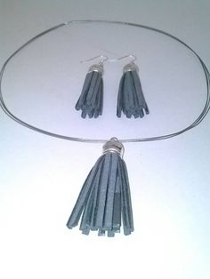 Grey Tassel Sliver Choker with grey tassel sliver earrings. - pinned by pin4etsy.com