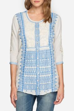 This tunic featuresintricate embroidery detailing the front and ¾ length sleeves and a flowy peplum silhouette with full-button front, this boho tunic top is sure to become a closet staple.It features a scoopneckline, a full button front, ¾ length sleeves, peplum waist, and signature embroidery.   Gaya Peplum Tunic by 3J Workshop. Clothing - Tops - Tunics Dallas, Texas