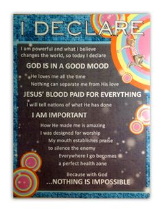 """I Declare..."" Poster by Seth Dahl of Bethel Church Children's Ministry in Redding, CA"
