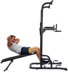 ONETWOFIT Multi-Function Power Tower with Sit Up Bench,Adjustable Height Pull Up Tower Heavy Duty Dip Station Fitness Equipment for Home Gym Supports to 330 Lbs Visit the image link more details. (This is an affiliate link) Pull Up Station, Dip Station, Strength Training Equipment, No Equipment Workout, Fitness Equipment, Push Up Handles, Power Tower, Fitness Brand, Different Exercises