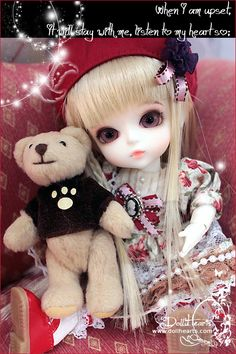 She's so cute with her little teddy ID000021 - Strawberry pig |DOLKSTATION - Ball Jointed Dolls Shop - Shop of BJD Dolls