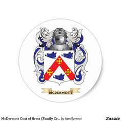 McDermott Coat of Arms (Family Crest) Classic Round Sticker