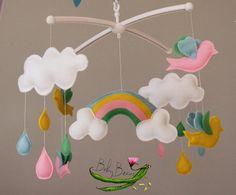 With MUSICAL CRIB ATTACHMENT. Rainbow raindrops by BabyBeansNZ