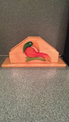 Vintage Made In Costa Rica Handcrafted Wooden Tucan Napkin Holder