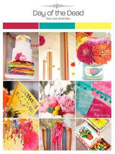 Day of the dead wedding inspiration board, color palette, mood board via Weddings Illustrated