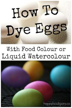 This fun and easy step-by-step shows you how to dye easter eggs with food colouring or liquid watercolours. Make gorgeous pastel-coloured eggs with your kids this year for Easter using this simple, classic egg-dying technique. Easter Egg Dye, Coloring Easter Eggs, Easter Food, Easter Activities, Easter Crafts For Kids, Easter Ideas, Liquid Food Coloring, Food Coloring Egg Dye, Snail Craft