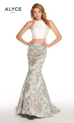 91e501d6b9ac5 Alyce Prom 60120 The fabric in this Alyce Paris Prom style is Jacquard Prom Two  Piece