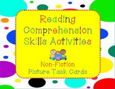 Twelve fascinating and fun Common Core aligned non-fiction story and picture task cards! Reading Comprehension Skills Assessment is provided in End of Grade testing format, plus worksheets and graphic organizers for Making Inferences, Main Idea and Supporting Details, Compare and Contrast, Who What, Where, When, Why and How. $
