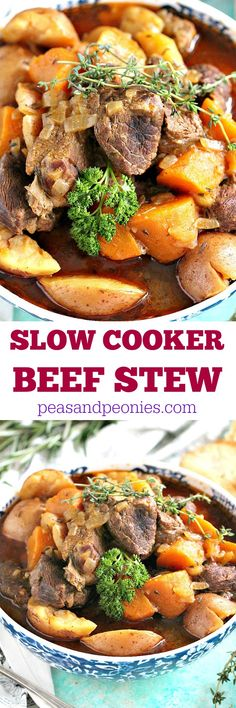 Slow Cooker Beef Stew is incredibly easy to make and filling with tender beef and veggies. Comfort food at it's best made easy in the slow cooker.