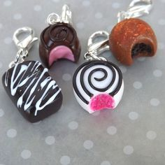 Assorted Chocolates Charms - Truffle Charms - Miniature Food Jewelry - Polymer Clay Food Charms - Stitch Markers - Planner Accessory