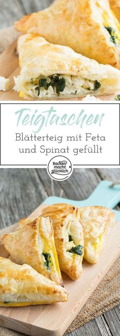 Puff pastry with spinach- Blätterteigtaschen mit Spinat Great party snack, finger food and dinner in one: These spicy puff pastries with spinach and cheese are made quickly. The filled puff pastry bags taste both warm and cold. Vegan Snacks, Healthy Snacks, Healthy Recipes, Breakfast Party, Spinach And Cheese, Spinach Puff, Snacks Für Party, Finger Foods, Food Inspiration