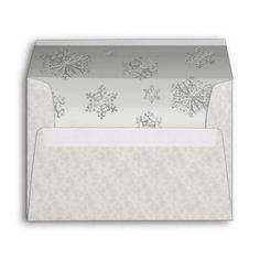 Winter White Snowflakes Wedding Custom Envelope