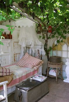 could do this with an outdoor space: put up a semi-translucent white plastic roof, a little detached from walls, and train growing vines to wrap around rafters just underneath. outside living Patio Interior, Interior Exterior, Interior Design, Outdoor Rooms, Outdoor Living, Outdoor Decor, Outdoor Bedroom, Garden Bedroom, Bedroom Decor