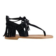 Sigerson Morrison Alysa Fringe Sandal (5.345 RUB) ❤ liked on Polyvore featuring shoes, sandals, nero suede, boho sandals, cutout flats, fringe sandals, sigerson morrison sandals and t strap flats