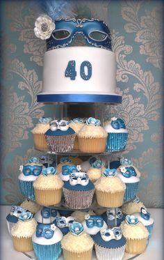 Masquerade Cake and Cupcakes!  #masquerade #cake #cupcakes #masks #cakedecorating